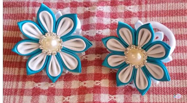 Como Fazer Flor Kanzashi Azul