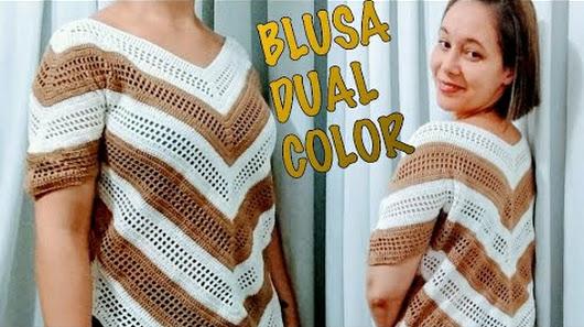 Aprenda Como Fazer Blusa de Crochê Dual Color