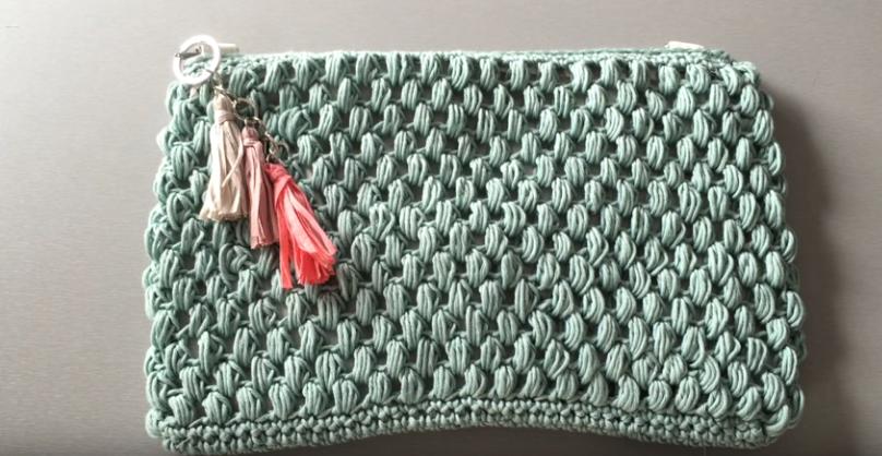 Como Fazer Necessaire de Crochê Ponto Grão de Bico