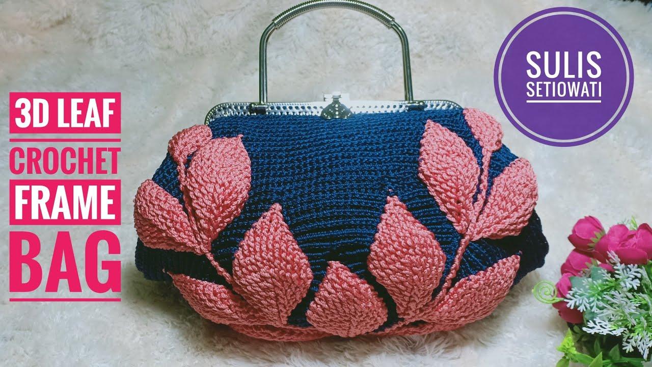 Como Fazer Bolsa de Crochê com Folha 3D