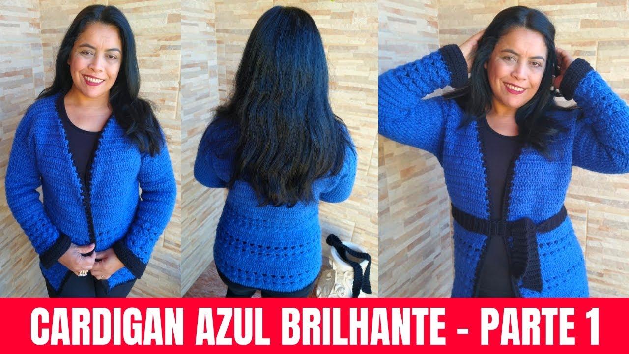 Como Fazer Cardigan Azul de Crochê