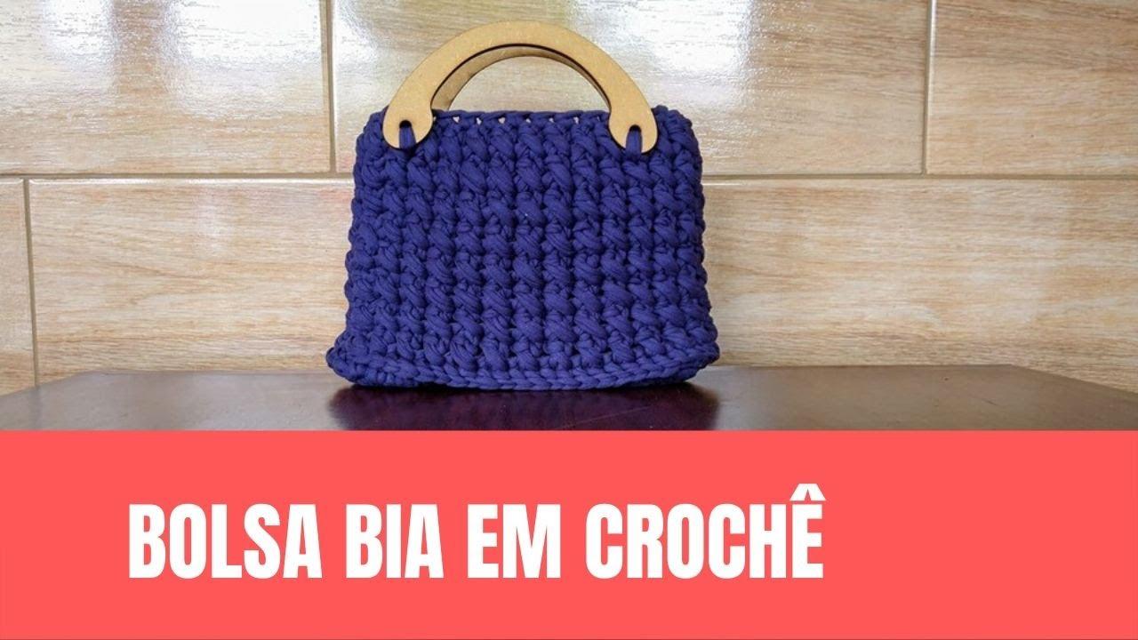 Bolsa de Crochê Fio de Malha Azul Marinho