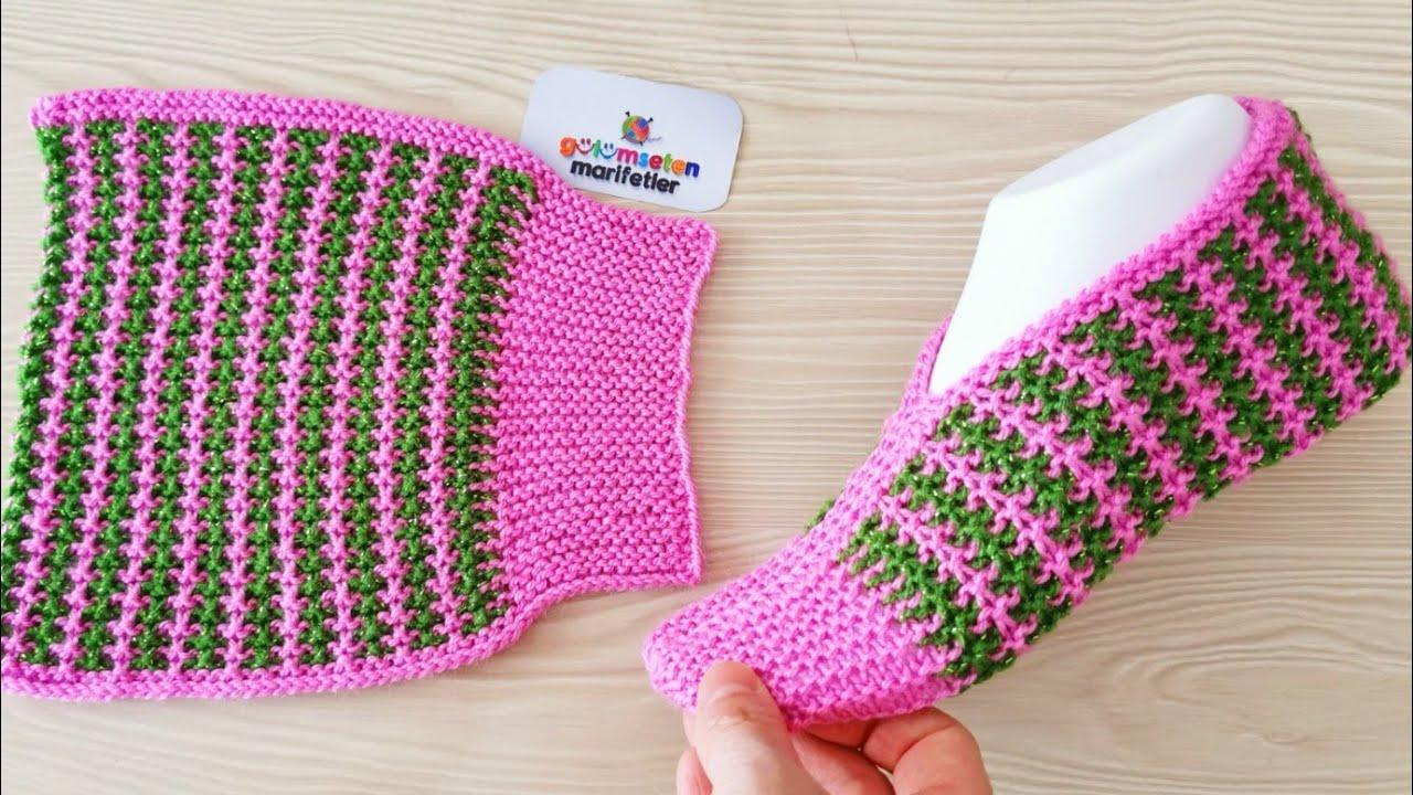 Sapato em Crochê Feminino Rosa com Verde