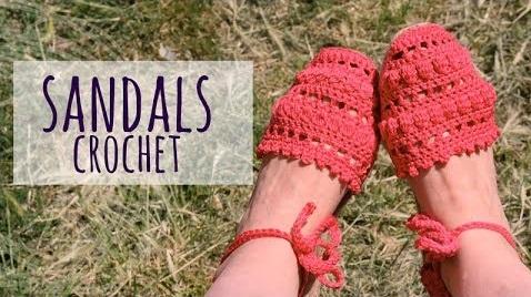 Sandália de Crochê Feminina Vermelha