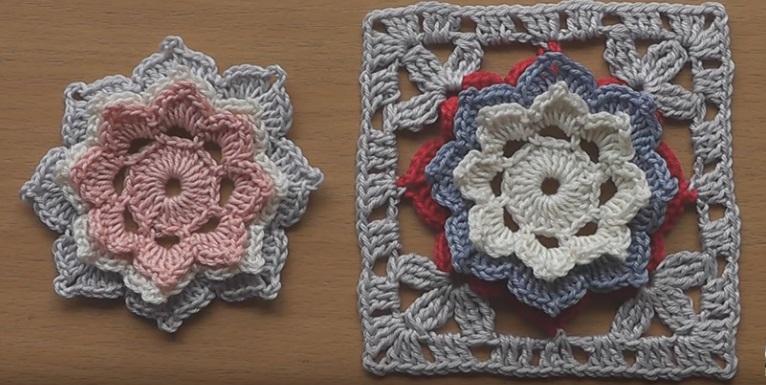 Flor de Crochê em Motivo Para Cobertor