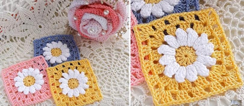 Square de Crochê Simples Colorido