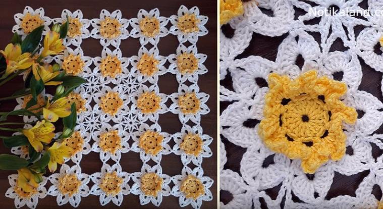 Toalha de Crochê Floral Branco e Amarelo