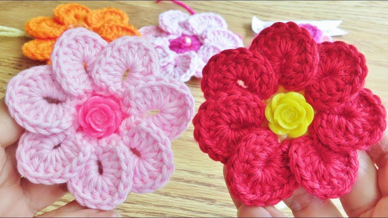 Flor de Crochê 7 Pétalas Simples