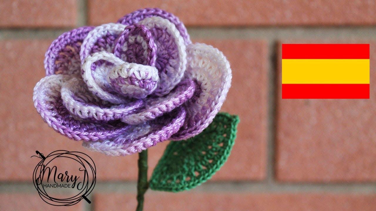 Flor de Crochê Tons Roxo