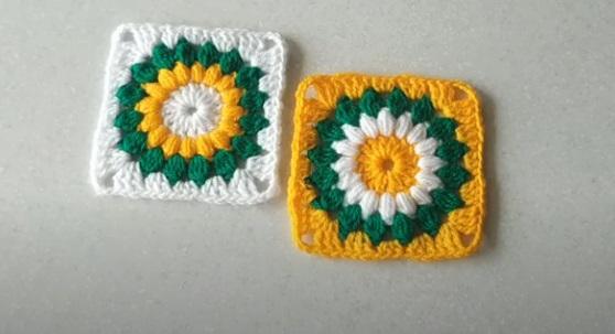 Square de Crochê Margarida Verde e Amarelo