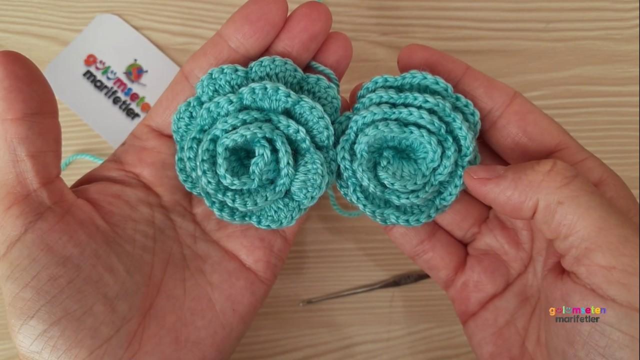 Flor de Crochê Azul Petróleo Simples