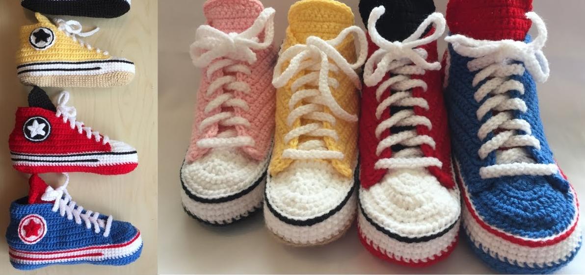 Sapato de Crochê All Star Adulto
