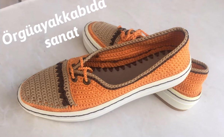 Sapato de Crochê Laranja com Marrom